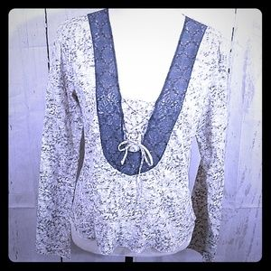Free People White Gray Lace Top Size Large